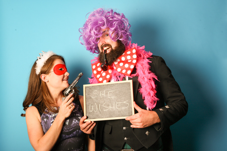 wedding photo booth hire edinburgh - guests with chalkboard