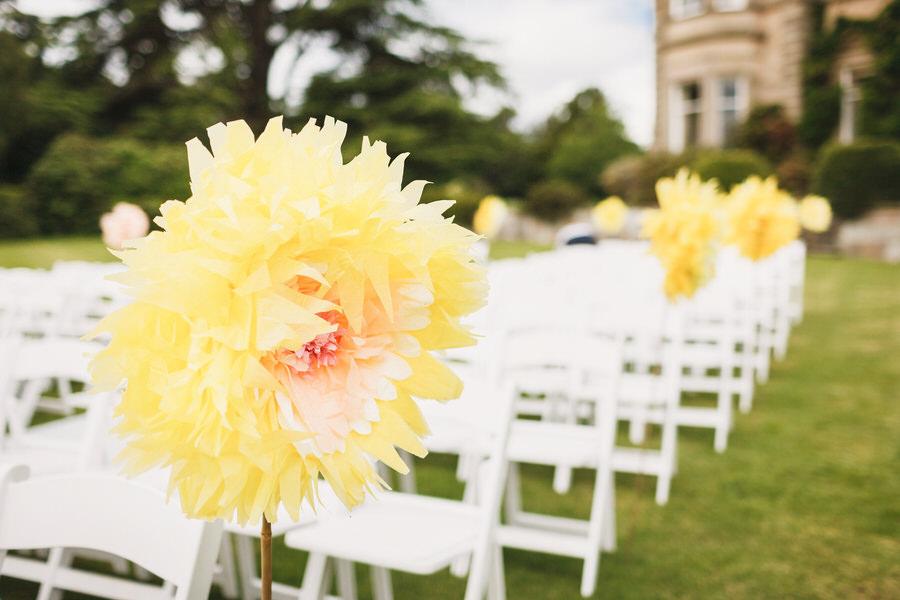 errol park wedding - flowers on seats