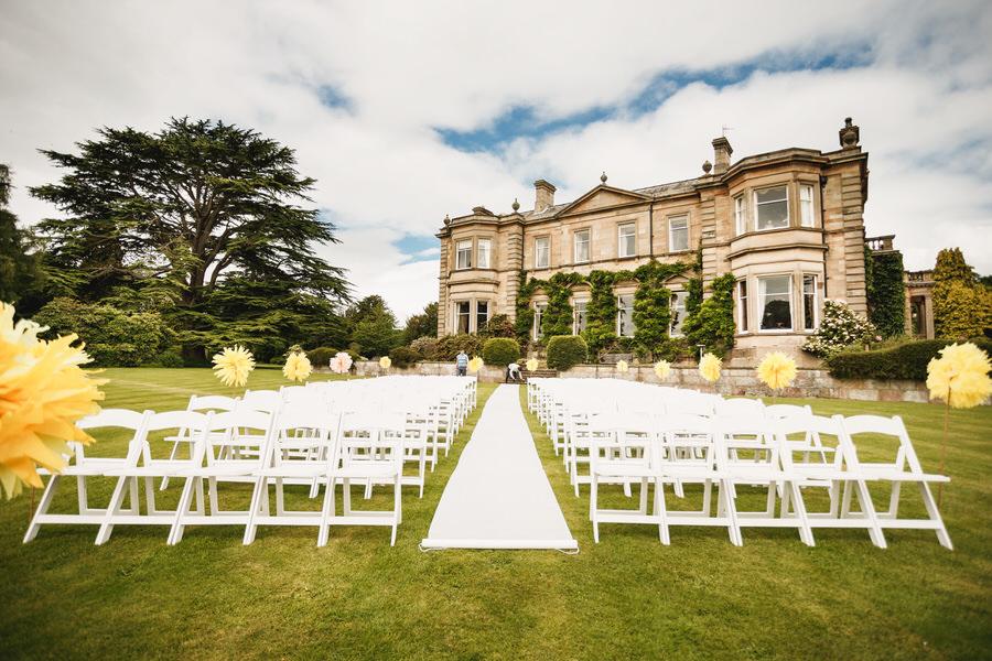 errol park wedding - ceremony on lawn